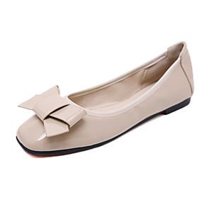 voordelige Damesschoenen met platte hak-Dames Platte schoenen Platte hak Vierkante Teen Strik Lakleer Zoet / minimalisme Herfst / Lente zomer Zwart / Amandel / Rood