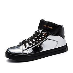 baratos Tênis Masculino-Homens Sapatos Confortáveis Couro Ecológico Verão Tênis Preto / Dourado / Prata / Ao ar livre