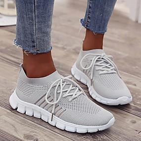 baratos Sapatos Esportivos Femininos-Mulheres Tênis Sem Salto Ponta Redonda Com Transparência Corrida Verão Preto / Rosa claro / Bege