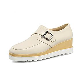 voordelige Damesinstappers & loafers-Dames Loafers & Slip-Ons Sleehak Vierkante Teen PU Studentikoos Lente / Herfst winter Zwart / Beige