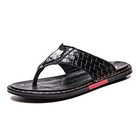 baratos Sandálias e Chinelos Masculinos-Homens Sapatos Confortáveis Pele Verão Chinelos e flip-flops Preto / Branco