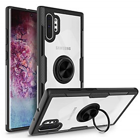 hesapli Cep Telefonu Kılıfları-Pouzdro Uyumluluk Samsung Galaxy Note 9 / Galaxy Not 10 / Galaxy Note 10 Plus Yüzüklü Tutacak Arka Kapak Şeffaf TPU / PC / Metal