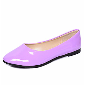 voordelige Damesschoenen met platte hak-Dames Platte schoenen Platte hak PU / Synthetisch Herfst / Lente zomer Zwart / Wit / Paars