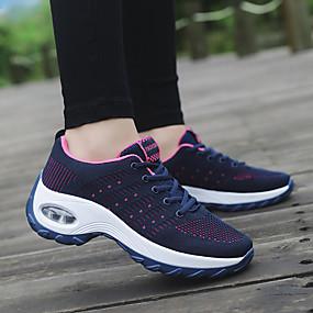 baratos Sapatos Esportivos Femininos-Mulheres Tênis Salto Plataforma Ponta Redonda Tricô Esportivo / Casual Corrida / Aventura Primavera & Outono Preto / Vermelho / Azul Escuro