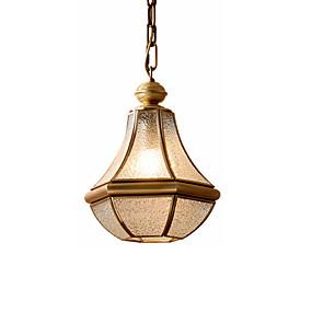 abordables Plafonniers-moderne lux unique suspension pendant cuivre et verre lumières de décoration intérieure lampe pour îlot de cuisine salle à manger