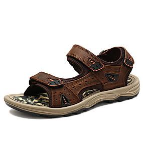 baratos Sandálias Masculinas-Homens Sapatos Confortáveis Pele Verão Sandálias Preto / Castanho Claro / Marron