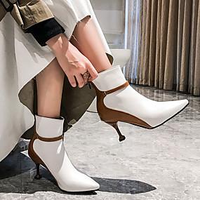 billige Mote Boots-Dame Støvler Heterotypisk hæl Spisstå Fuskelær Knehøye støvler Klassisk / Britisk Vår sommer / Høst vinter Svart / Hvit / Fest / aften / Fargeblokk