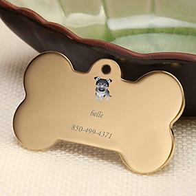 hesapli Kazınmış Evcil Hayvan Aksesuarları-Kişiselleştirilmiş Özelleştirilmiş Alman Belçi Köpeği Evcil Hayvan Etiketleri Klasik Hediye Günlük 1pcs Altın Gümüş Gül Altın