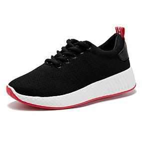 voordelige Damessneakers-Dames Sneakers Sleehak Ronde Teen Tissage Volant Lente & Herfst Zwart / Wit / Roze