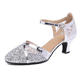 cheap Pre Sale-Women's Dance Shoes Synthetics Modern Shoes Heel Cuban Heel Customizable Gold / Black / Silver / Performance