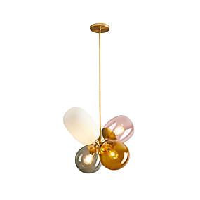 abordables Plafonniers-4 lumières Géométrique Lampe suspendue Lumière d'ambiance Plaqué Métal 110-120V / 220-240V