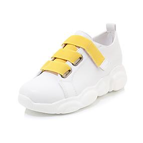 voordelige Damessneakers-Dames Sneakers Creepers Ronde Teen Imitatieleer Studentikoos / minimalisme Wandelen / Swingschoenen Lente & Herfst Wit  / Geel / Wit / Kleurenblok