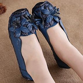 voordelige Damesschoenen met platte hak-Dames Platte schoenen Platte hak Ronde Teen Leer Zomer Zwart / Geel / Rood