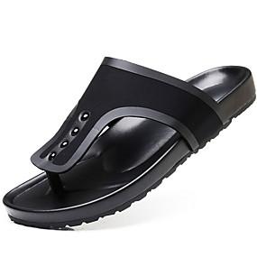 baratos Sandálias e Chinelos Masculinos-Homens Sapatos Confortáveis Couro Ecológico Verão Chinelos e flip-flops Preto