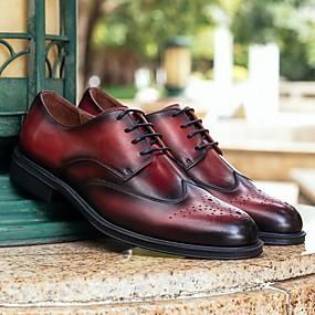 baratos Oxfords Masculinos-Homens Sapatos Confortáveis Couro Primavera Oxfords Preto / Vinho / Café