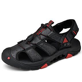 baratos Sandálias Masculinas-Homens Sapatos de couro Pele Napa Verão Esportivo / Casual Sandálias Aventura / Caminhada Respirável Preto / Marron