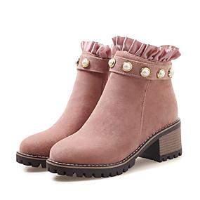 billige Mote Boots-Dame Støvler Tykk hæl Rund Tå PU Ankelstøvler Fritid / Britisk Høst vinter Svart / Gul / Rosa / Fest / aften