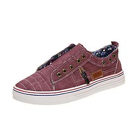 voordelige Damessneakers-Dames Sneakers Creepers Ronde Teen Canvas Lente & Herfst Paars / Stoffige roos / Blauw