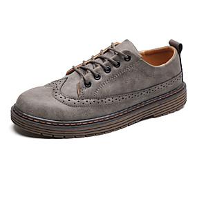 baratos Oxfords Masculinos-Homens Sapatos Confortáveis Couro Ecológico Outono Oxfords Preto / Cinzento / Ao ar livre