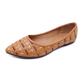 voordelige Damesschoenen met platte hak-Dames Platte schoenen Platte hak Gepuntte Teen PU Zoet / minimalisme Lente & Herfst Zwart / Amandel / Bruin / Kleurenblok