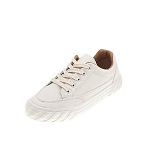 voordelige Damessneakers-Dames Sneakers Platte hak Ronde Teen PU Vintage / Studentikoos Herfst / Lente zomer Wit / Beige