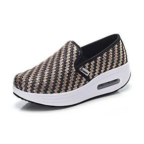 voordelige Damesinstappers & loafers-Dames Loafers & Slip-Ons Sleehak Ronde Teen PU Informeel / Studentikoos Lente zomer Zwart en Gold / Khaki