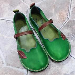 voordelige Damesschoenen met platte hak-Dames Platte schoenen Platte hak Ronde Teen PU Zomer Paars / Groen / Rood
