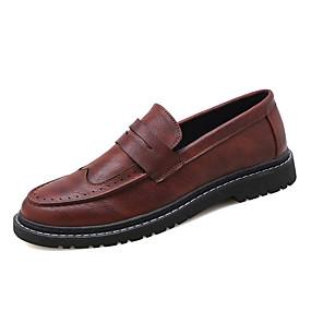 baratos Oxfords Masculinos-Homens Sapatos de couro Couro de Porco Outono Oxfords Preto / Marron / Festas & Noite