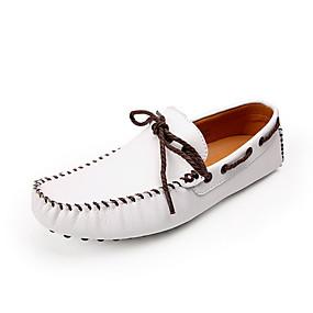 זול נעליי סירה לגברים-בגדי ריקוד גברים מוקסין עור קיץ נעלי סירה שחור / לבן / צהוב