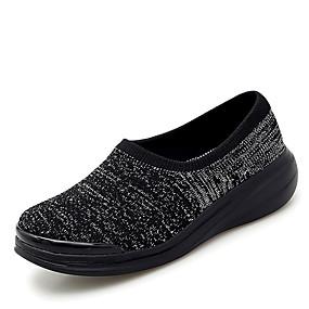 voordelige Damesinstappers & loafers-Dames Loafers & Slip-Ons Platte hak Ronde Teen Elastische stof / Tissage Volant Informeel Lente zomer Zwart / Bruin / Zwart en Zilver