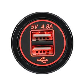 billige Nyankomne i oktober-4.8a dobbelt usb billader 2 port lcd-skjerm 12v / 24v universell lading for telefon -