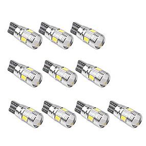 billige Nyankomne i oktober-10pcs T10 Bil Elpærer SMD 5630 6 LED Lisensplatelampe / Arbeidslampe / Baklys Til Universell Alle år