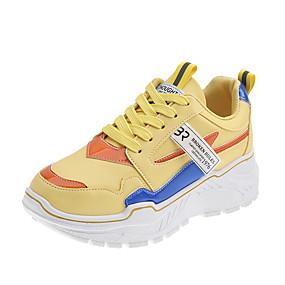 voordelige Damessneakers-Dames Sneakers Platte hak Gesloten teen Netstof / PU Zoet / minimalisme Wandelen Lente zomer / Herfst winter Zwart / Wit / Geel