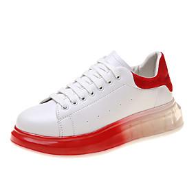 voordelige Damessneakers-Dames Sneakers Creepers Ronde Teen Imitatieleer / PU Lente / Herfst winter Zwart / Wit / Rood