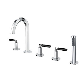 cheap Bathtub Faucets-Bathroom 5 pcs Faucet Set Deck Mounted 3 Handle Bathtub Faucet Chrome Copper Ceramic Valve Core Hot And Cold Water Faucet Shower Room Roman Tub Mixer Tap with Handheld Shower