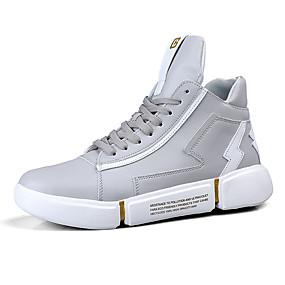 baratos Tênis Masculino-Homens Fashion Boots Couro Ecológico Primavera Verão / Outono & inverno Tênis Preto / Branco / Cinzento