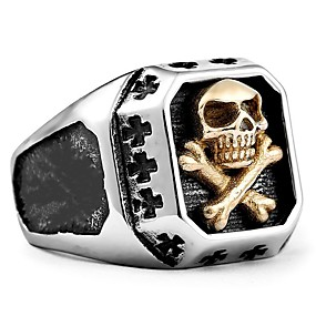 cheap Halloween Accessories & Jewelry-Men's Ring 1pc Silver Alloy irregular Vintage Punk Ethnic Daily Jewelry Vintage Style Skull