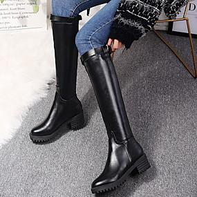 billige Mote Boots-Dame Støvler Flat hæl Rund Tå PU Knehøye støvler Vinter Svart
