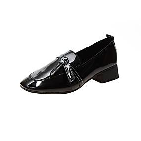 voordelige Damesinstappers & loafers-Dames Loafers & Slip-Ons Blok hiel Vierkante Teen PU Herfst Zwart / Beige