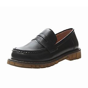 voordelige Damesinstappers & loafers-Dames Loafers & Slip-Ons Platte hak Ronde Teen PU Herfst winter Zwart / Donker Bruin