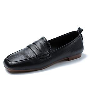 voordelige Damesschoenen met platte hak-Dames Platte schoenen Platte hak Vierkante Teen Gestrikt lint PU Informeel Wandelen Herfst winter Zwart / Wit