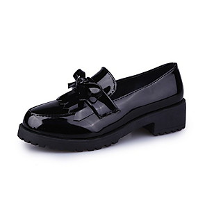 voordelige Damesschoenen met platte hak-Dames Platte schoenen Platte hak Ronde Teen PU Lente zomer Zwart / Bordeaux