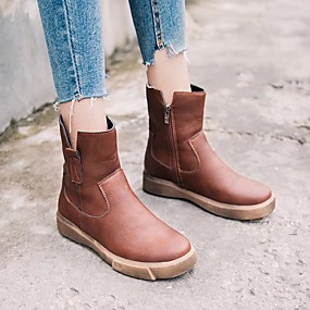 billige Mote Boots-Dame Støvler Flat hæl Rund Tå Fuskelær Støvletter Høst vinter Svart / Mørkebrun