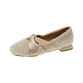 voordelige Damesschoenen met platte hak-Dames Platte schoenen Platte hak Vierkante Teen Imitatiebont / PU Informeel Herfst Zwart / Beige / Khaki