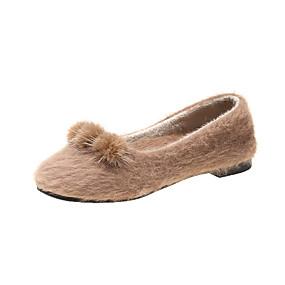 voordelige Damesinstappers & loafers-Dames Loafers & Slip-Ons Platte hak Ronde Teen POM Pom Konijnenbont Informeel Wandelen Herfst winter Zwart / Khaki