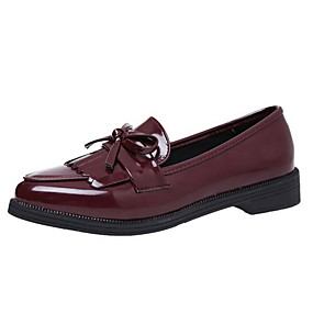 voordelige Damesinstappers & loafers-Dames Loafers & Slip-Ons Lage hak Ronde Teen PU Zomer Zwart / Rood