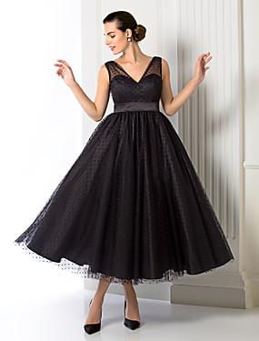 5dd49968eb0 Γραμμή Α Λαιμόκοψη V Κάτω από το γόνατο Τούλι Κοκτέιλ Πάρτι / Χοροεσπερίδα  / Επίσημο Βραδινό Φόρεμα με Ζώνη / Κορδέλα με TS Couture®