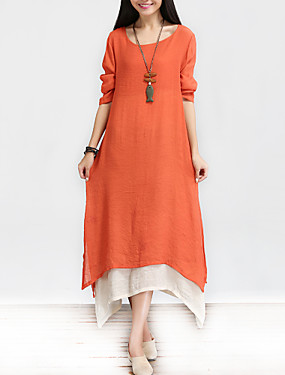 2d8fce80e78f3 Kadın's Çin Stili Pamuklu A Şekilli Salaş Elbise - Solid, Çoklu Katman Maksi