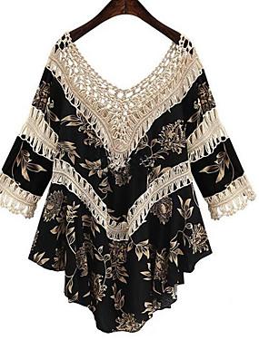 a5ae99d72 فستان نسائي فضفاض بوهو دانتيل طباعة غير متماثل V رقبة كم مضيئة, شاطئ
