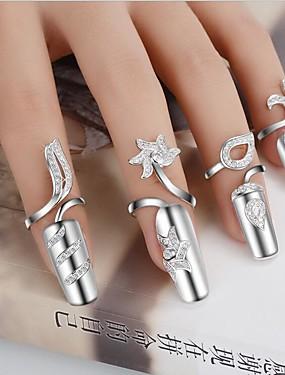 billige Fashion Rings-Dame Statement Ring Nail Finger Ring Sølvplett Blomst damer Personalisert Uvanlig Unikt design Mote Motering Smykker Til Bryllup Fest Gave Daglig Avslappet Justerbar